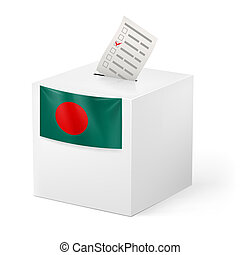 Ballot box with voting paper Bangladesh - Election in...