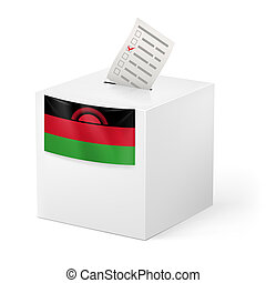 Ballot box with voting paper. Malawi - Election in Malawi:...