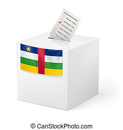 Ballot box with voting paper. Central African Republic -...