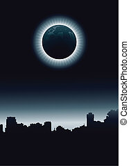 Urban Eclipse - A total eclipse over the skyline of a dark...