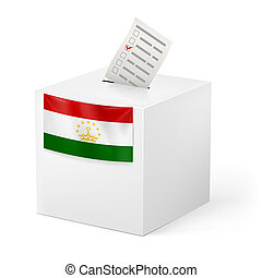 Ballot box with voting paper. Tajikistan - Election in...