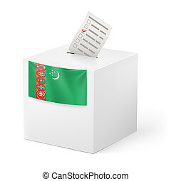 Ballot box with votng paper Turkmenistan - Election in...