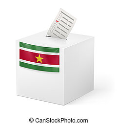 Ballot box with voting paper. Suriname - Election in...