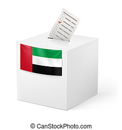 Ballot box with voting paper. United Arab Emirates -...
