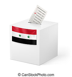 Ballot box with voting paper. Syria - Election in Syria:...