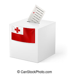 Ballot box with voting paper. Tonga - Election in Tonga:...
