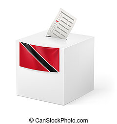 Ballot box with voting paper. Trinidad and Tobago - Election...