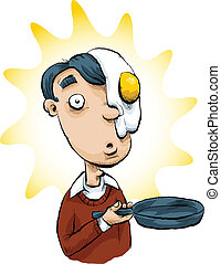 Egg on his Face - A cartoon man who had a frying pan...