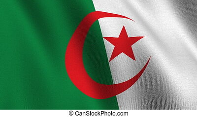 Flag of Algeria, seamless loop - Flag of Algeria waving in...