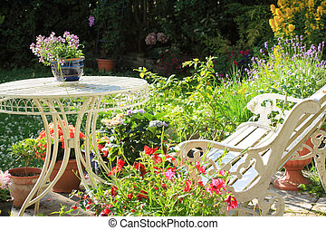 Beautiful summer garden with blooming flowers