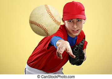 portrait of a beautiful teen baseball player in red and...