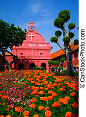 MALAYSIA MALACCA - A view of Christ Church and Dutch Square...