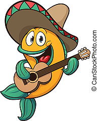 Mariachi fish singing with guitar. Vector clip art...