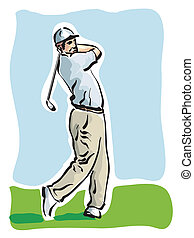 golf player - illustration of a golf player