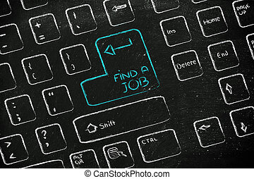 computer keyboard with special key: find a job - keyboard...