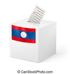 Ballot box with voting paper. Laos - Election in Laos:...
