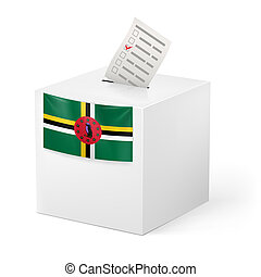 Ballot box with voting paper. Dominica - Election in...