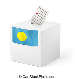 Ballot box with voting paper. Palau - Election in Palau:...
