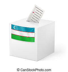 Ballot box with voting paper. Uzbekistan - Election in...