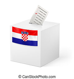 Ballot box with voting paper. Croatia - Election in Croatia:...
