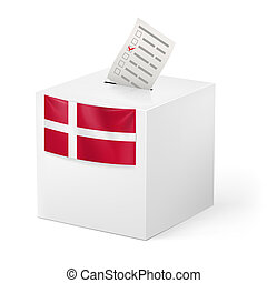 Ballot box with voting paper. Denmark - Election in Denmark:...