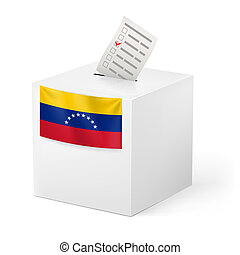 Ballot box with voting paper. Venezuela - Election in...