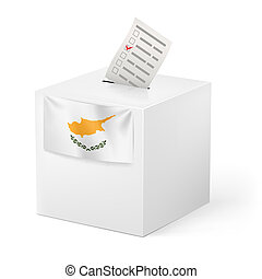 Ballot box with voting paper. Cyprus - Election in Cyprus:...