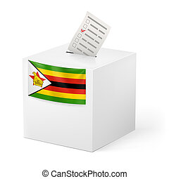 Ballot box with voting paper. Zimbabwe - Election in...