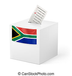 Ballot box with voting paper. South Africa - Election in...