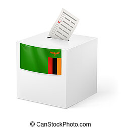 Ballot box with voting paper. Zambia - Election in Zambia:...