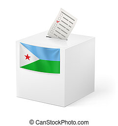 Ballot box with voting paper. Djibouti - Election in...