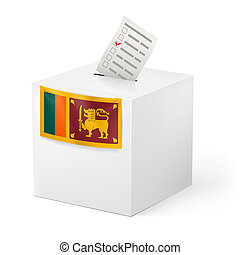 Ballot box with voting paper. Sri Lanka - Election in Sri...