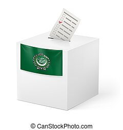 Ballot box with voting paper. Arab League - Election in Arab...