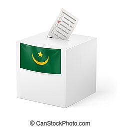 Ballot box with voting paper. Mauritania - Election in...