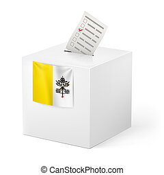 Ballot box with voting paper. Vatican City - Election in...