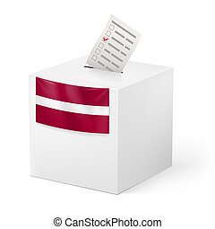 Ballot box with voting paper. Latvia - Election in Latvia:...