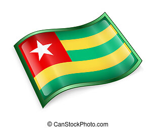 Togo Flag icon, isolated on white background.