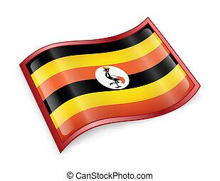 Uganda Flag icon, isolated on white background.