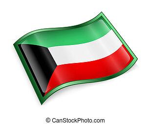 Kuwait Flag Icon, isolated on white background.