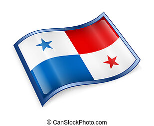 Panama Flag icon, isolated on white background.