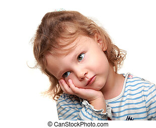Small tired cute kid girl wanting to sleep. Isolated...