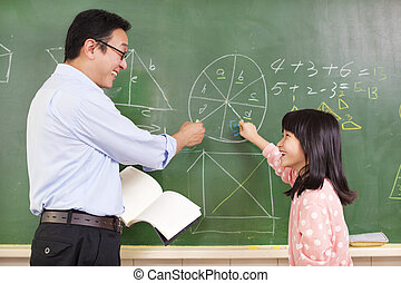 Teacher and student discussing math questions