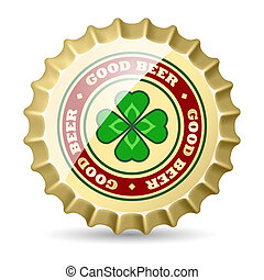 Beer cap - Shiny metal beer cap with clover image Premium...