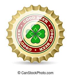 Beer cap - Shiny metal beer cap with clover image. Premium...