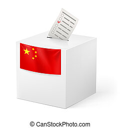 Ballot box with voting paper. China - Election in China:...