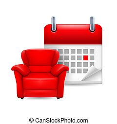 Day off icon: red arm-chair and calendar with marked day