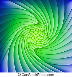 Abstract green and blue background of curved overlapping...