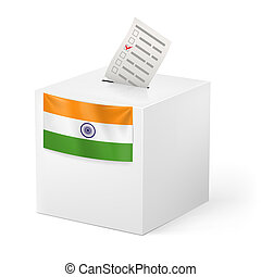 Ballot box with voicing paper. India - Election in India:...
