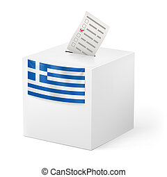 Ballot box with voicing paper. Greece - Election in Greece:...