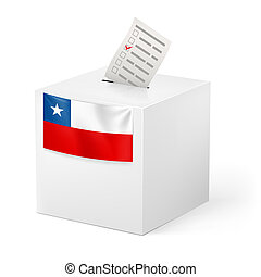 Ballot box with voting paper. Chile - Election in Chile:...
